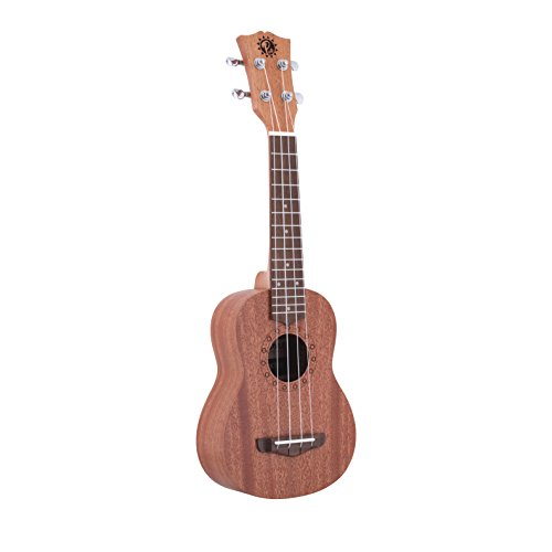 Pyle Mahogany Wood Soprano Ukulele – Solid Dark Brown Body & Neck, Black Walnut Fingerboard & Bridge – Standard 4 String Starter Hawaiian Uke Guitar Easy for Beginners to Learn & Play – PUKT45