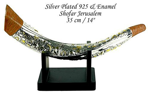 Silver Plated Giant SHOFAR Gold Jerusalem Enamel With Stand Israel Judaica Gift