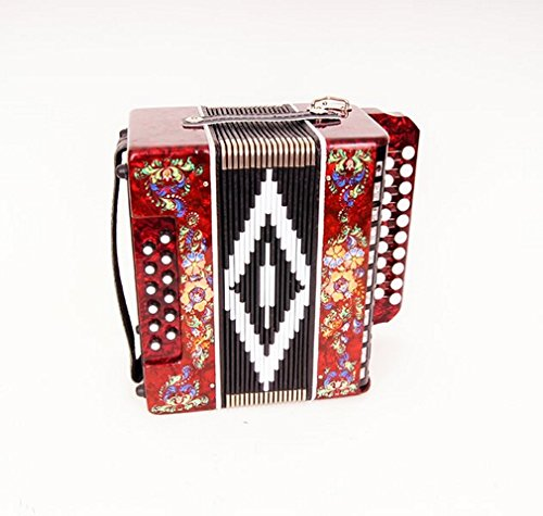 "Accordion""Seagull"" (Chaika) 19×12-II, red, Shuya accordion. Russia. Two-voiced accordion without register, the scale is based on incomplete chromatic scale. Sound range: almost three octaves."