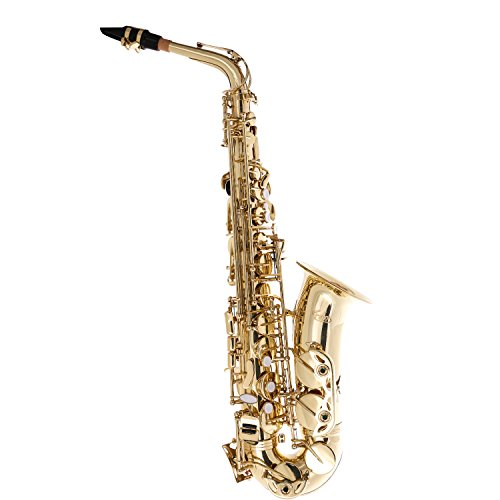 Febos FSP-A21 Professional Saxophone Alto Sax Gold Lacquer Finish, 11 reeds, Low Bb to High F#, Foam body Case