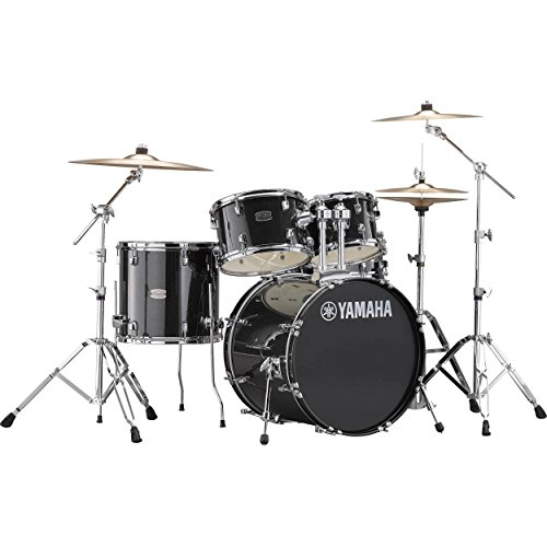 Yamaha Rydeen Acoustic Drum Set Drum Kit Set (5-piece shell pack) with Single Braced Drums Hardware Set (5 Piece) Acoustic Drum Package in Black Glitter