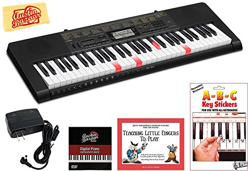 Casio LK-265 Lighted Keys Keyboard Bundle with Power Supply, Removeable Stickers, Instructional Book, Austin Bazaar Instructional DVD, and Polishing Cloth