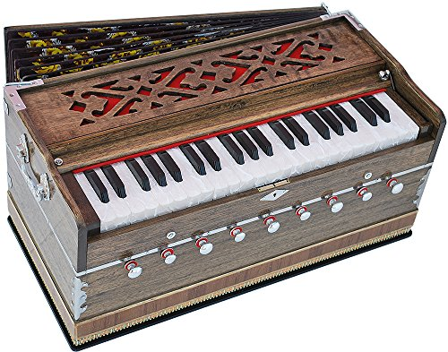 Harmonium Pro Grade By Kaayna Musicals, 9 Stops- 5 Main & 4 Drone, 3 ½ Octaves, Coupler, Rat Color, Gig Bag, Bass/Male Reed Tuned- 440 Hz, Suitable for Yoga, Bhajan, Kirtan, Shruti, Mantra, etc