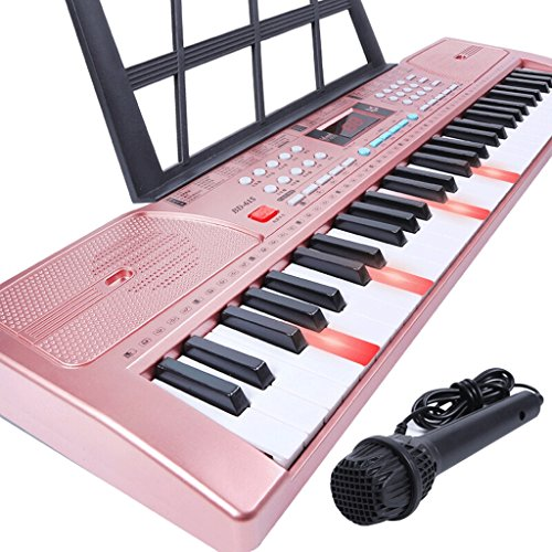 DUWEN Keyboard 61-key Children's Keyboard Piano Educational Toy Piano Professional Zither (smart Lighting Limited Edition) (Color : Rose gold)