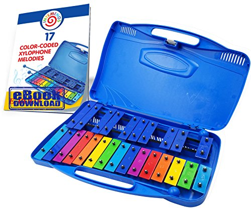 Xylophone Glockenspiel 25 Note Chromatic Xylophone in a Plastic Case – 17 Color-Coded Song E-book just for this Xylophone