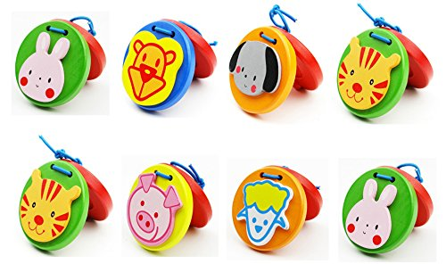 Foraineam 8 Pieces Lovley Animal Pattern Wooden Finger Castanet for Baby Early Education