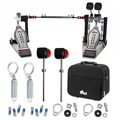 DW 9000 Double Bass Pedal w/Bag DWCP9002 Deluxe Bundle Includes 2 Flyweight Beaters, 2 Drum Key Screws, 2 Spring and Felt Inserts and 2 Rocker Assembly with Bearing Rockers