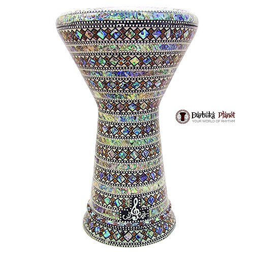 The Arabian Ring Gawharet El Fan 18.5″ Darbuka Doumbek Drum Sombaty Size With Real Green Mother of Pearl