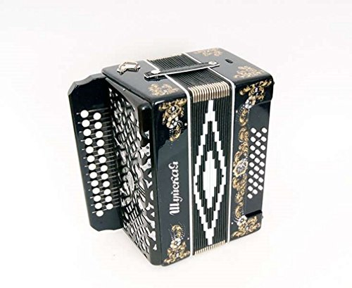 """Accordion""""Shuyskaya"""" 25×25-III, black, Shuya accordion. Russia. Three-voiced accordion without register, the scale is based on incomplete chromatic scale."""
