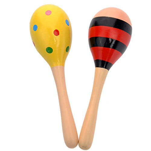 PIXNOR Egg Shaker Wooden Maracas Rattle Shakers Musical Educational Toys – 2 Pieces
