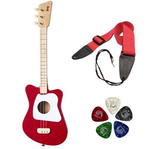 LOOG Mini Guitar for Children with Guitar Strap and Guitar Pick 10-Pack (Red)