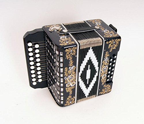 Accordion Chayka 19х12-II, black, la major, painting, Shuyskaya garmon. Russia. Two-voiced accordion without register, the scale is based on incomplete chromatic scale.