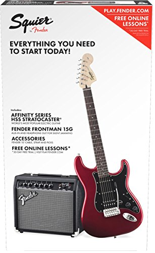 Squier by Fender Affinity Series Stratocaster Beginner Electric Guitar Pack – HSS – Candy Apple Red
