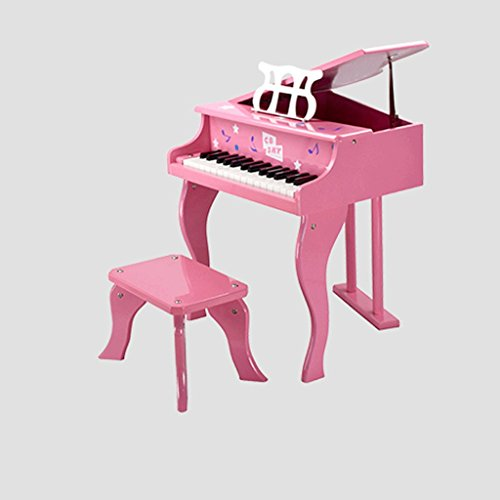 DUWEN Keyboard Children's Wooden Piano Baby Mechanical Piano Toys Early Learning Enlightenment 30 Keys (Color : Pink)