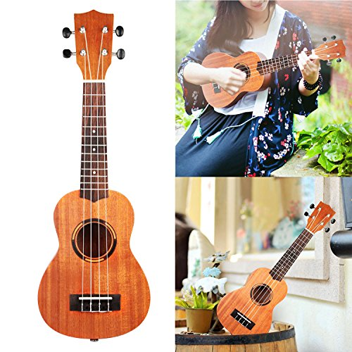 GPCT [21 INCH] Sapele Ukulele Hawaiian Uke W/ Matte Finish. 4 Strings, 12 Frets, Clear Tone, Suitable for Beginners & Professionals. Great for Parties, Formal Occasions, Home