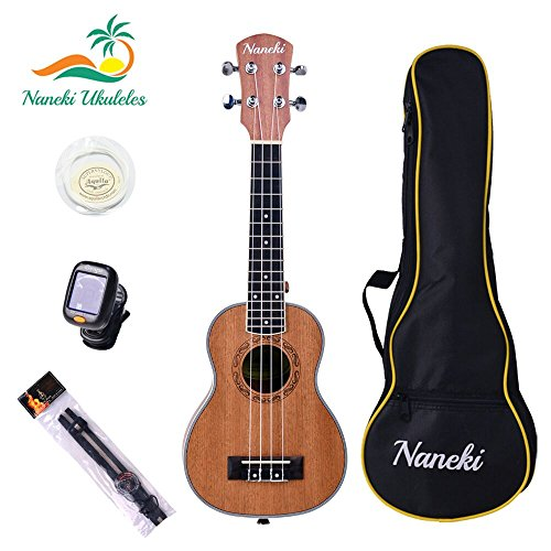 Naneki Soprano Ukulele Bundle. World's Most Traditional & Popular Sized Uke. Exceptional Quality for Beginners and Experienced Musicians.