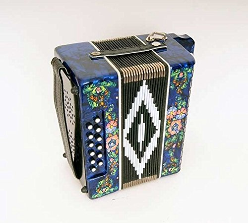 """Accordion""""Chaika"""" 19×12-II, blue, do major, painting, Shuya accordion. Russia. Two-voiced accordion without register, the scale is based on incomplete chromatic scale."""
