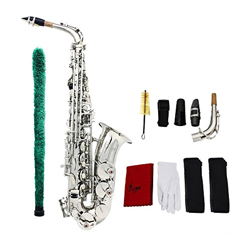ammoon I833S Saxophone Sax Eb Be Alto E Flat Brass Carved Pattern on Surface Plastic Mouthpiece Exquisite with Gloves Cleaning Cloth Brush Straps