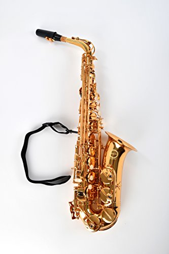Herche Superior Alto Saxophone AS-630 – Best for Students – Durable forged keys -Plush lined Saxophone BackPack Case – Leather Pads – Cork Grease – Saxophone Neck Strap – #2 Rico Saxophone Reeds