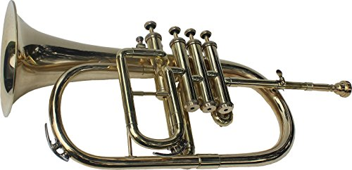 BRAND NEW NICKEL PLATED Bb FLAT 4 VALVE FLUGEL HORN +FREE HARD CASE+MOUTHIPICE