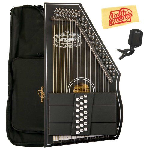 Oscar Schmidt OS73CE 1930's Reissue 21 Chord Autoharp with Pickup Bundle with Gig Bag, Tuner, and Polishing Cloth – Black