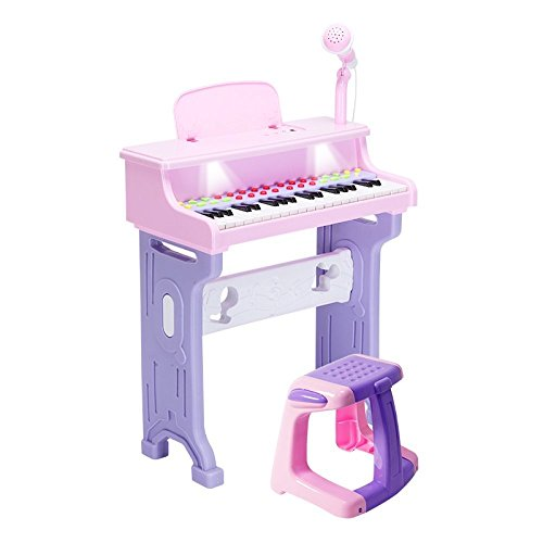 DUWEN Keyboard Elegant And Beautiful Children Electric Piano Toy 37 Keys Piano Girl Birthday Gift With Microphone (pink)