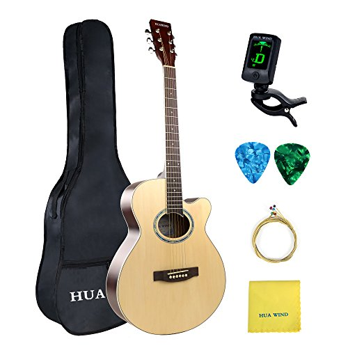 Acoustic Guitar 40 inch Basswood Cutaway Steel Strings Acoustic Guitar Starer Kit with Gig Bag, Tuner, Strings, Picks and Polishing Cloth (Natural)