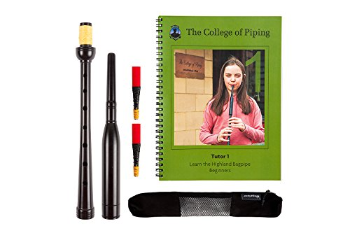 Children's Frazer Warnock Bagpipe Practice Chanter, College of Piping Tutor Book 1, Breathable Case and Reed Tube with 2 Quality Reeds Bundle