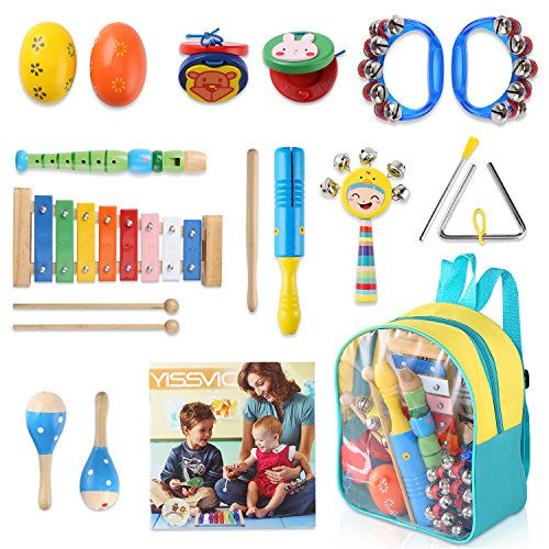 YISSVIC Kids Musical Instruments 13Pcs Xylophone Set Preschool Educational Toy with Storage Backpack