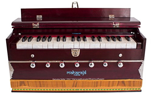 MAHARAJA Harmonium 7 Stopper – 39 Keys – Comes with Book & Bag – Tuned to A440 – Mahogany Color (US-PDI-DB)