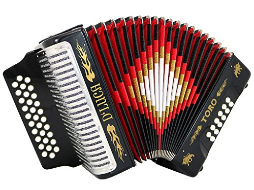 D'Luca D3112T-GCF-BK Toro Button Accordion 31 Keys 12 Bass on GCF Key with Case and Straps, Black