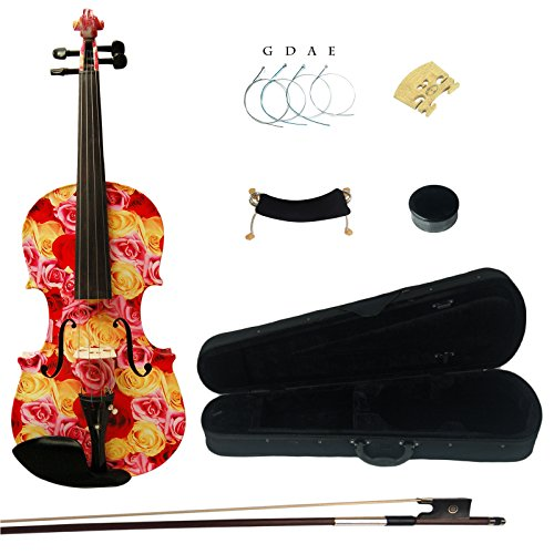 Kinglos 4/4 Yellow Red Rose Colored Ebony Fitted Solid Wood Violin Kit with Case, Shoulder Rest, Bow, Rosin, Extra Bridge and Strings Full Size (XC1003)