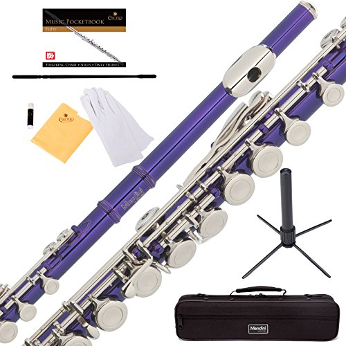 Mendini Purple Closed Hole C Flute with Stand, 1 Year Warranty, Case, Cleaning Rod, Cloth, Joint Grease, and Gloves – MFE-PL+PB+SD