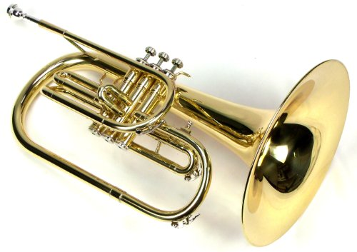 Moz Advanced Monel Pistons Marching Mellophone Key of F with Case and Mouthpiece-Gold Lacquer Finish