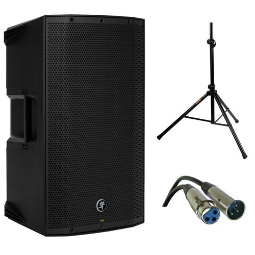 Mackie Thump12A – 1300W 12″ Powered Loudspeaker Bundle (Solo) with (2) Steel Speaker Stand and (2) XLR-XLR Cable