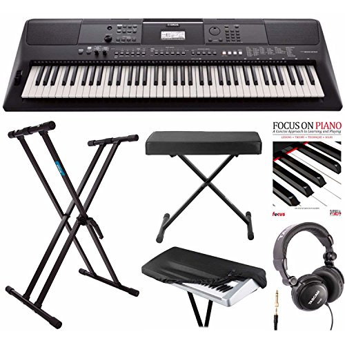 Yamaha PSREW410 76-key Portable Keyboard with Power Adapter, Knox Double X Keyboard Stand, Bench and Accessory Bundle