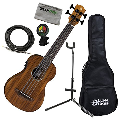 Luna Ukulele BBASS QA Bari-Bass Ukulele with Preamp, Quilt Top w/Bag, Geartree