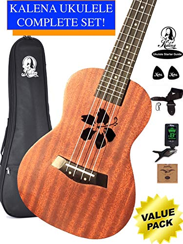 Kalena Factory Direct Ukulele with instruction book, strap, tuner, extra strings, felt picks, complete set for all ages (24″ Concert Hibiscus, Moonlight Sapele)