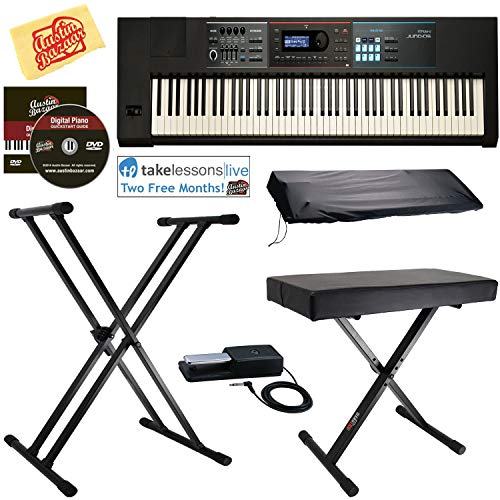Roland JUNO-DS88 Synthesizer Bundle with Roland DP-10 Damper Pedal, Adjustable Stand, Bench, Dust Cover, Online Lessons, Austin Bazaar Instructional DVD, and Polishing Cloth