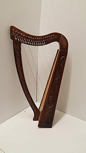 Tall Celtic Irish Rose Harp 22 Strings Solid Wood with hand Engraved Styles