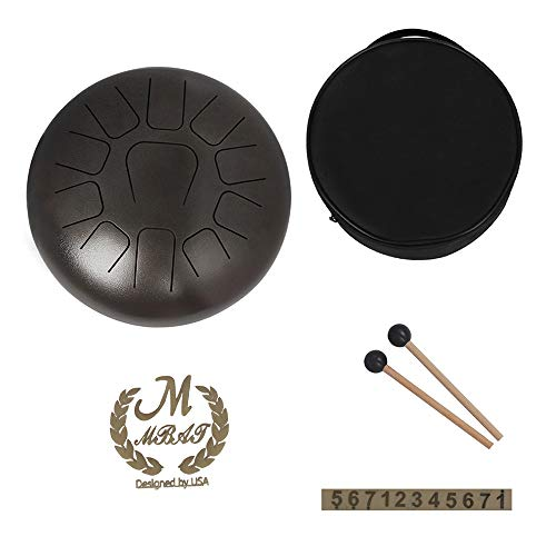 Muslady 12 inch Steel Tongue Drum 11-Tone Hand Pan Drum Stainless Steel Percussion Instrument with Drum Mallets Carry Bags Note Sticks
