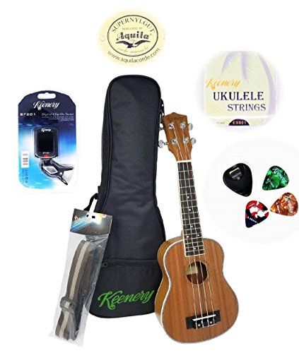 Keenery 21″ Handcrafted Professional Mahogany Soprano Ukulele Now with Aquila Strings Starter Kit With Gig Bag, Strap, Extra Strings, Picks, Tuner