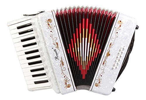 Rossetti 2512 Piano Accordion 12 Bass 25 Keys with Straps and Hard Case (WHITE)