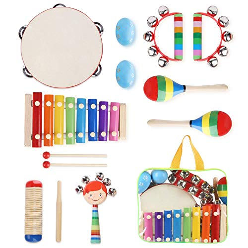 YISSVIC Kids Musical Instruments 8Pcs Xylophone Tambourine Set Preschool Educational Toy with Carrying Bag