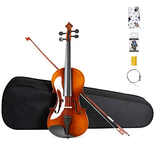ARTALL 4/4 Handmade Student Acoustic Violin Beginner Pack with Bow, Hard Case, Chin Rest, Tuner, Spare Strings, Rosin and Bridge, Glossy Antique