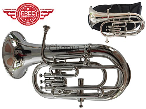 Euphonium Bb Flat 4 Valve Nickel Plated Bb / F 100% Brass with Mouth Piece & Bag Free