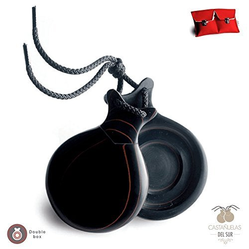 Ole Ole Flamenco Castanets Pair of Professional Castanet black fiber veined in red double sound box includes red case by Castañuelas del Sur