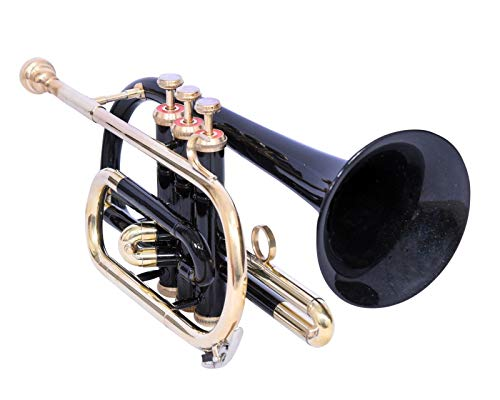 CORNET Bb PITCH BLACK+BRASS COLOR WITH HARD CASE AND MOUTHPIECE