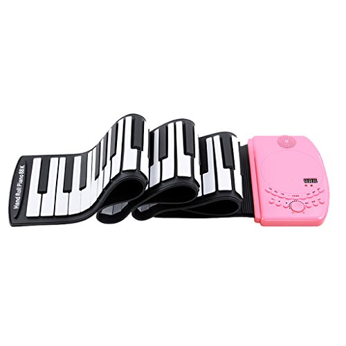 DUWEN Keyboard Children's Keyboard Hand Roll Piano 88 Keys Portable Collapsible Chargeable (Color : Pink)