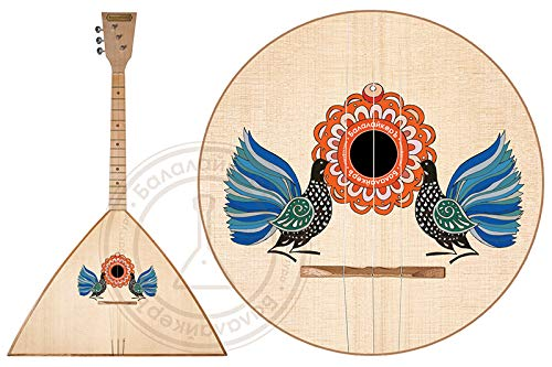 A souvenir, but fully functional Russian traditional three-stringed Balalaika with a special decoration. The decor is based on historical examples of old peasant paintings .Balalayker